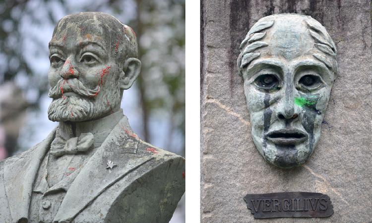 O busto de Zamenhof e a imagem de Vergilius pichados (Foto: Henrique Pinheiro)