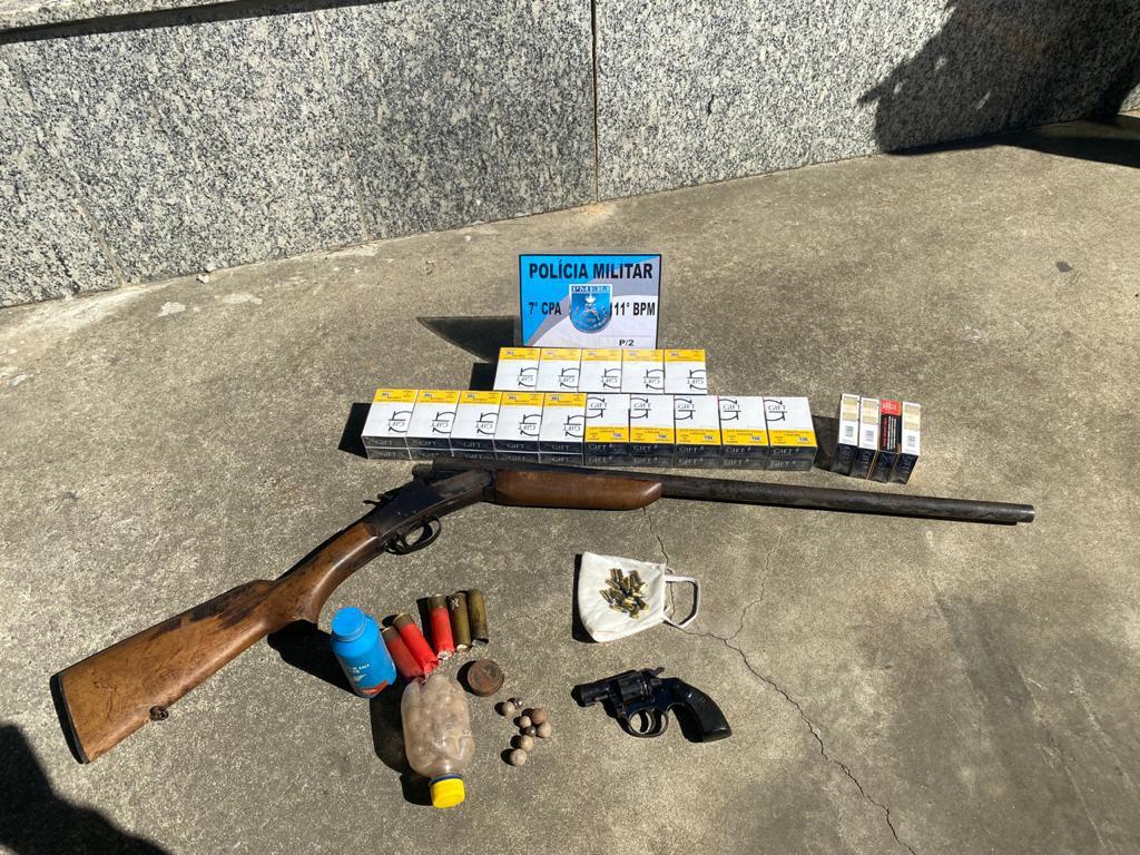 A arma apreendida  no São Jorge  (Foto: 11 BPM)