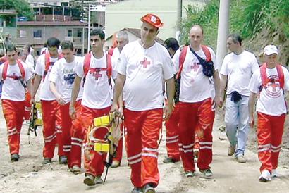Os voluntários da Cruz Vermelha de Nova Friburgo (Arquivo AVS)
