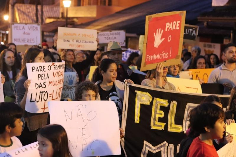 Protesto contra o feminicídio em São pedro da Serra (Arquivo AVS)