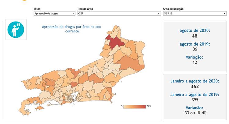 O mapa das apreensões de drogas no estado (Fonte: ISP)