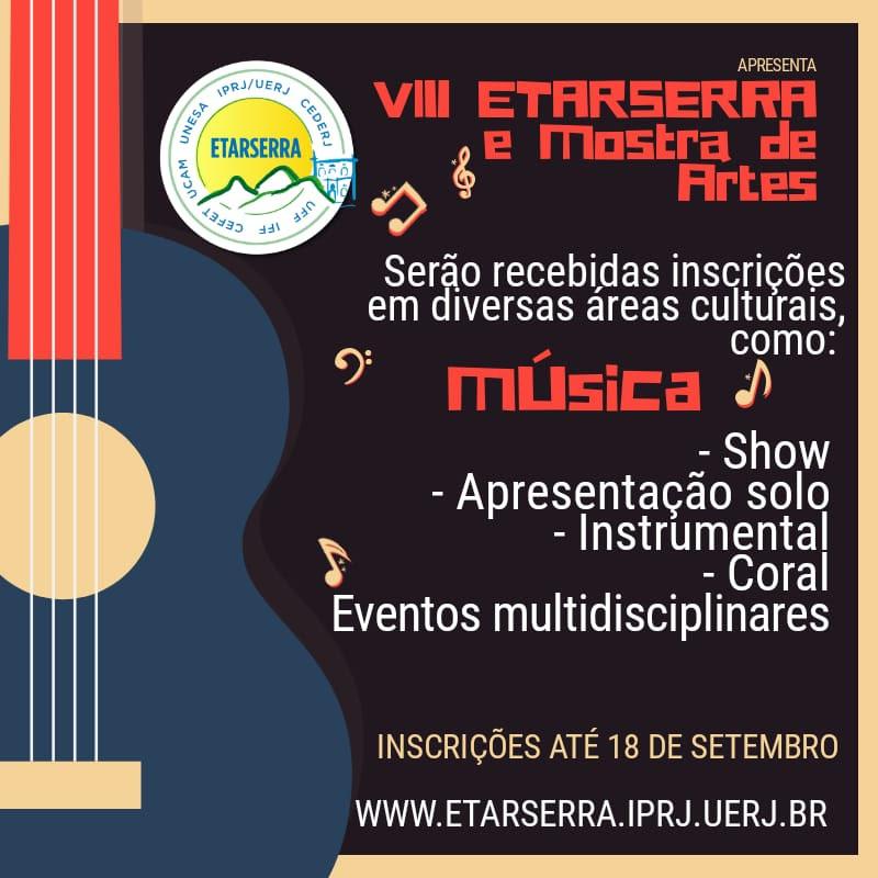 Prazo de inscrições para a Mostra de Artes da ETARSERRA termina na sexta