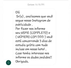 A mensagem do golpista usando o perfil falso de um hotel famoso da cidade (Reprodução da web)