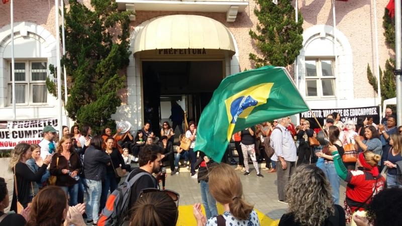Um dos atos em frente à prefeitura, em agosto (Arquivo AVS)