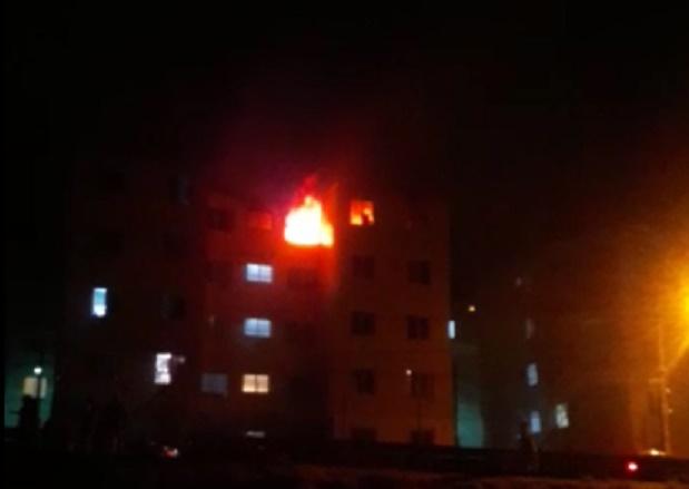 O apartamento em chamas (Foto de leitor)
