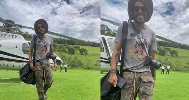 Lenny Kravitz chega de helicóptero em Duas Barras (Reprodução da web)