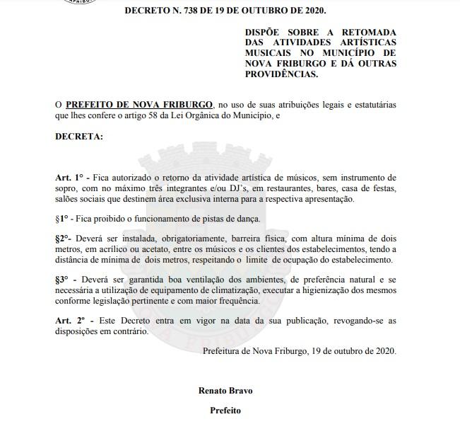 O decreto publicado em Diário Oficial Eletrônico (Reprodução da web)