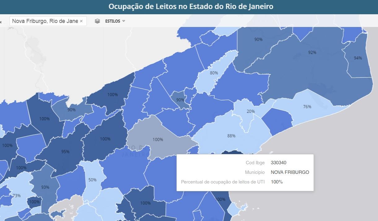 O mapa da ocupação de leitos no estado mostra Friburgo saturada (Reprodução da web)