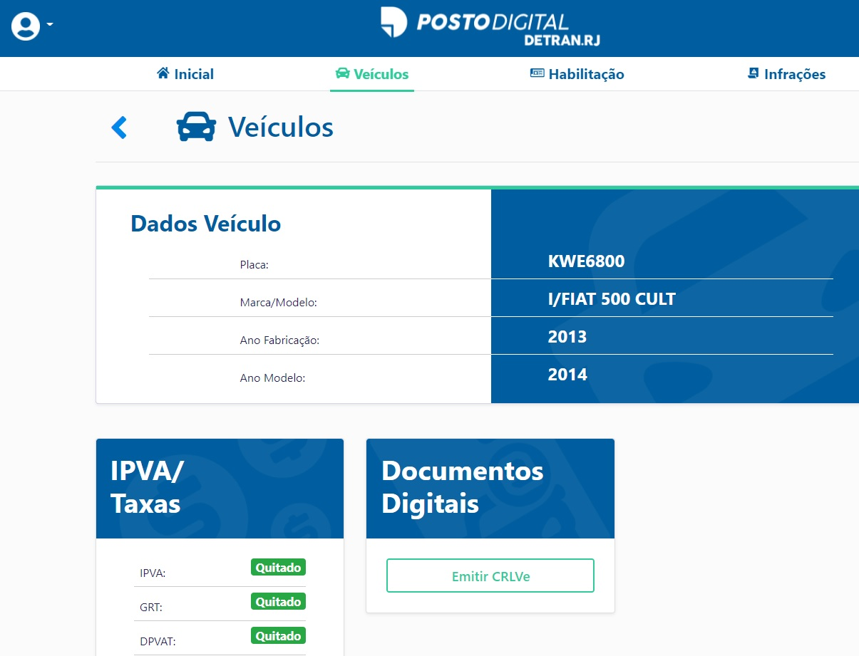 Exemplo do acesso ao posto digital do Detran