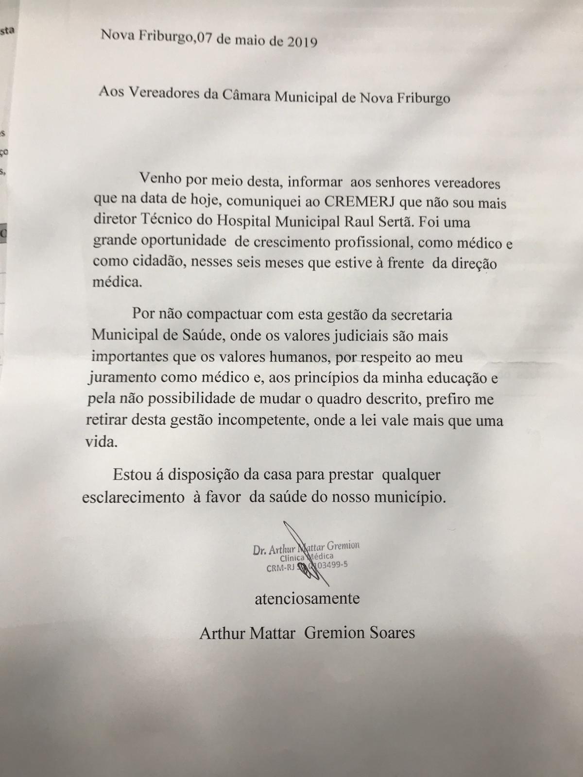 A carta entregue por Arthur Mattar Gremion, à qual A VOZ DA SERRA teve acesso