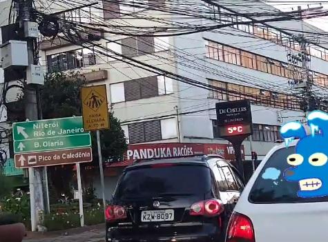 Termômetro do Paissandu marcando 5 graus nesta segunda cedo (Foto: Guilherme Alt)