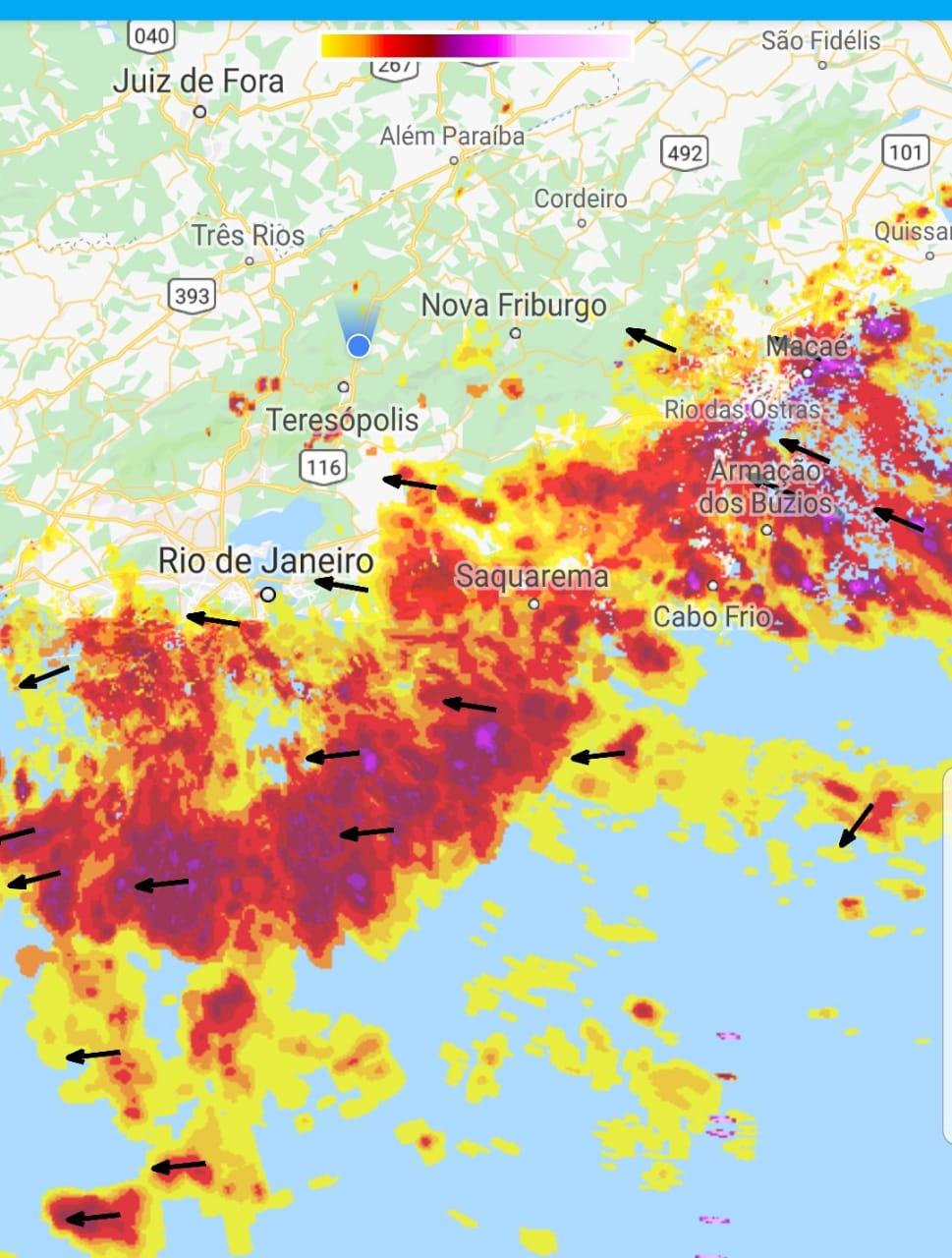 O mapa mostra a ação da frente fria do litoral para o interior do estado (Reprodução da web)