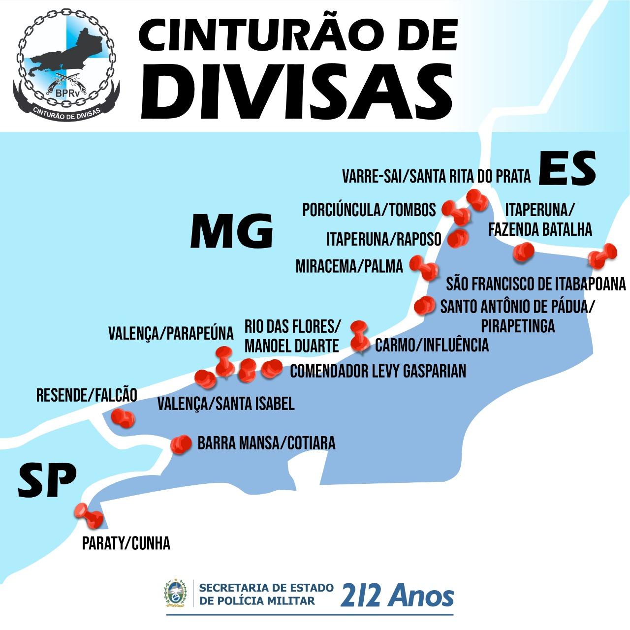 A localização das bases do Cinturão de Divisas (Divulgação: SEPM)